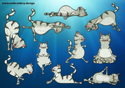 The pack of embroidery designs Yoga cats contains 10 designs depicting different yoga asanas.