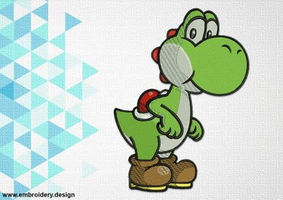 The embroidery design Yoshi of The Mario Brothers looks cute and fresh