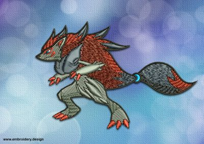 The embroidery design Zoroark Pokemon, that is well known among Pokemons fans