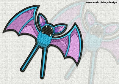 The qualitatively digitized embroidery design Zubat Pokemon
