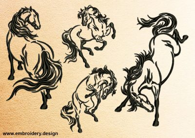 The pack of embroidery designs Active horses consists 4 items.