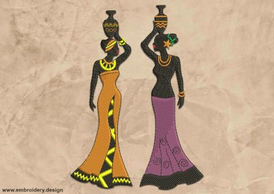 This African women with jars design was digitized and embroidered by www.embroidery.design.