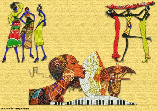 This African women pack #1 design was digitized and embroidered by www.embroidery.design.