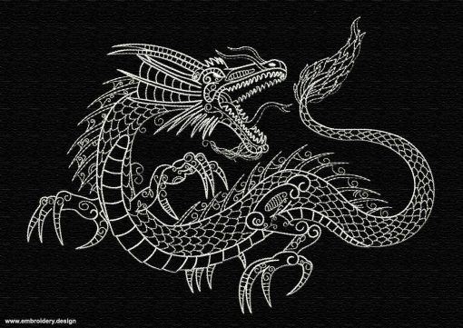 This Aggressive dragon design was digitized and embroidered by www.embroidery.design.