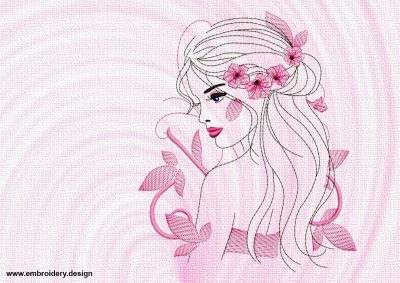 The embroidery design Airy-fairy Girl will look perfect on different clothes.