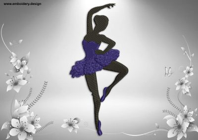 This Allegro dance design was digitized and embroidered by www.embroidery.design.