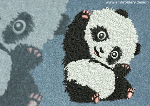 This Amusing panda design was digitized and embroidered by www.embroidery.design.