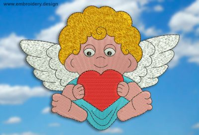 This Angel with heart design was digitized and embroidered by www.embroidery.design.