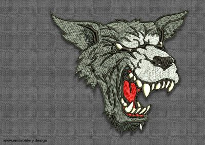 The embroidery design  Angry toothy wolf contains in 8 machines embroidery formats.