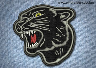 This Animal Patch Black Panther design was digitized and embroidered by www.embroidery.design.