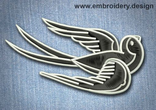 This Animal Patch Black Vintage Flying Bird design was digitized and embroidered by www.embroidery.design.