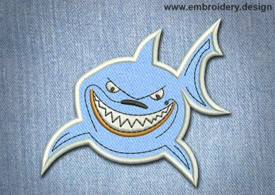 This Animal Patch The Blue Smiling Shark design was digitized and embroidered by www.embroidery.design.