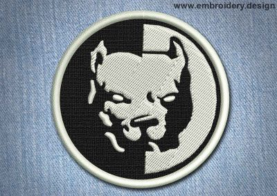 This Animal Patch Bulldog in black and white design was digitized and embroidered by www.embroidery.design.