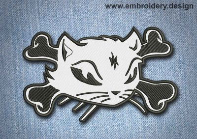 This Animal Patch Cat's Muzzle with Crossbones design was digitized and embroidered by www.embroidery.design.