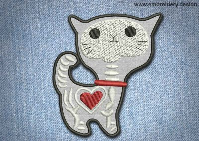 This Animal Patch Cute Cat With Heart design was digitized and embroidered by www.embroidery.design.