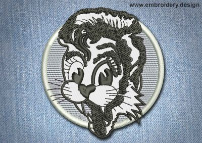 This Animal Patch Fanny Cat With Fangs design was digitized and embroidered by www.embroidery.design.