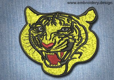 This Animal Patch Golden Tiger design was digitized and embroidered by www.embroidery.design.