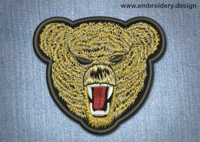 This Animal Patch Grizzly Bear With Fangs design was digitized and embroidered by www.embroidery.design.