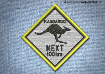 This Animal Patch Kangaroo In Rhombus design was digitized and embroidered by www.embroidery.design.