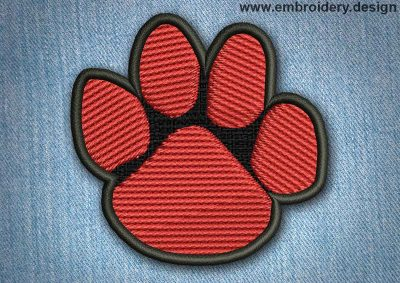 This Animal Patch Red Paw design was digitized and embroidered by www.embroidery.design.