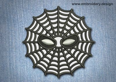 This Animal Patch Spiderweb With Eyes design was digitized and embroidered by www.embroidery.design.