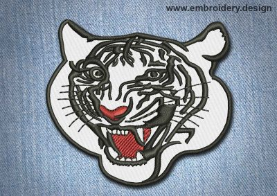 This Animal Patch Tiger's Muzzle design was digitized and embroidered by www.embroidery.design.
