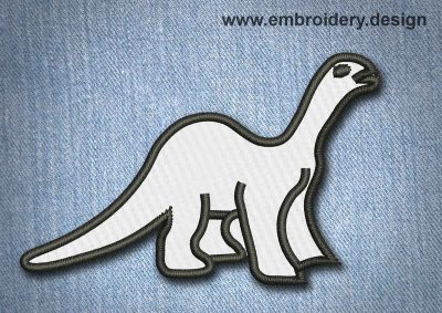 This Animal Patch White Dinosaur design was digitized and embroidered by www.embroidery.design.
