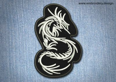 This Animal Patch White Dragon On Black Background design was digitized and embroidered by www.embroidery.design.