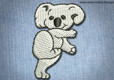 This Animal Patch White Koala design was digitized and embroidered by www.embroidery.design.