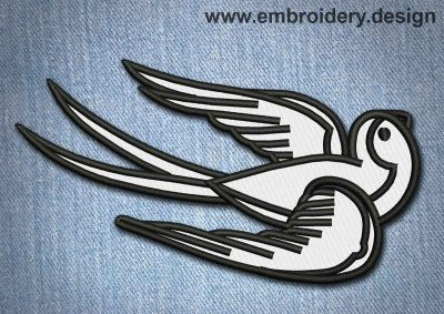 This Animal Patch White Vintage Flying Bird design was digitized and embroidered by www.embroidery.design.