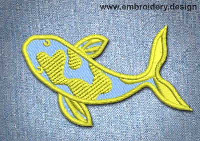 This Animal Patch Yellow And Blue Fish design was digitized and embroidered by www.embroidery.design.