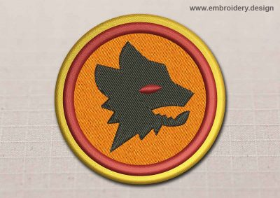 This Flora Patch Wolf In Orange Circle design was digitized and embroidered by www.embroidery.design.