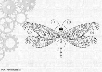 The embroidery design Art dragonfly