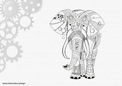 The embroidery design Art elephant