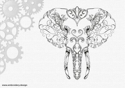 The embroidery design Art portrait of elephant