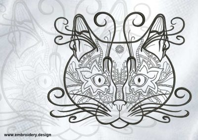 The embroidery design Artistic cats portrait