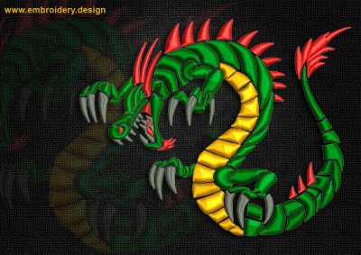 This Attacking celtic dragon 2 design was digitized and embroidered by www.embroidery.design.