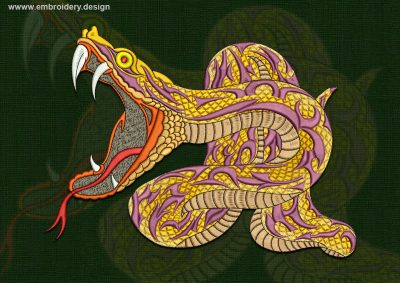 This Attacking python design was digitized and embroidered by www.embroidery.design.