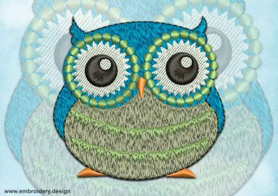This Attentive owl design was digitized and embroidered by www.embroidery.design.