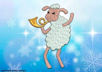 This Baa-lamb trumpeter design was digitized and embroidered by www.embroidery.design.