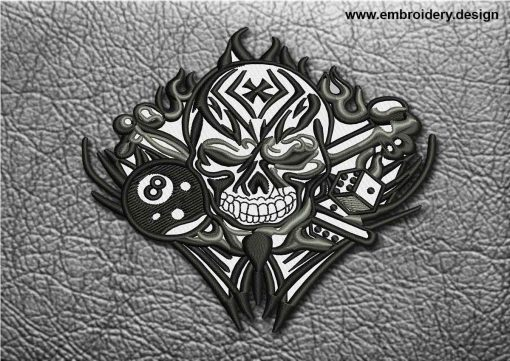 This Biker Patch Jolly Roger In Flame design was digitized and embroidered by www.embroidery.design.