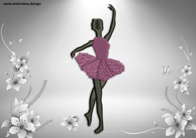 This Ballerina in allonge position design was digitized and embroidered by www.embroidery.design.