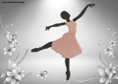 This Ballerina in arabesque position design was digitized and embroidered by www.embroidery.design.