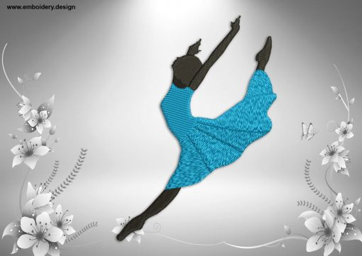 This Ballerina in la seconde position design was digitized and embroidered by www.embroidery.design.