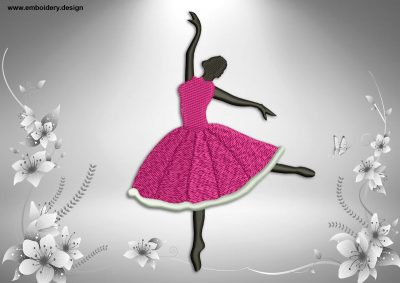 This Ballerina in light arabesque position design was digitized and embroidered by www.embroidery.design.