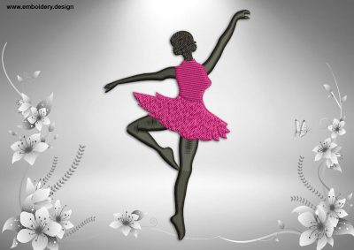 This Ballerina in perfect fouette pose design was digitized and embroidered by www.embroidery.design.