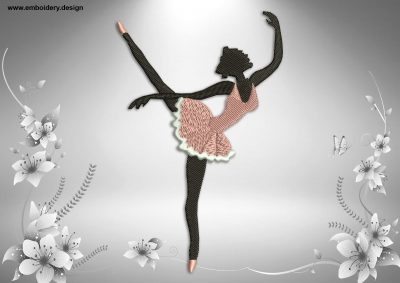 This Ballerina in perfect la seconde position design was digitized and embroidered by www.embroidery.design.