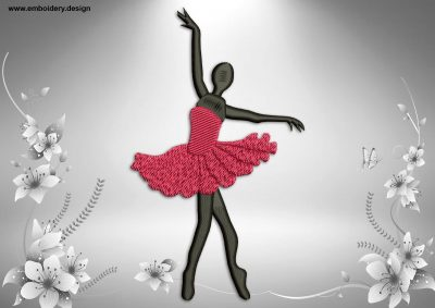 This Ballerina in preparation pose design was digitized and embroidered by www.embroidery.design.