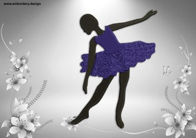 This Ballerina's curtsey design was digitized and embroidered by www.embroidery.design.