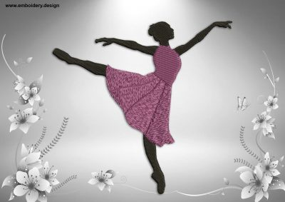 This Ballerina's dance design was digitized and embroidered by www.embroidery.design.